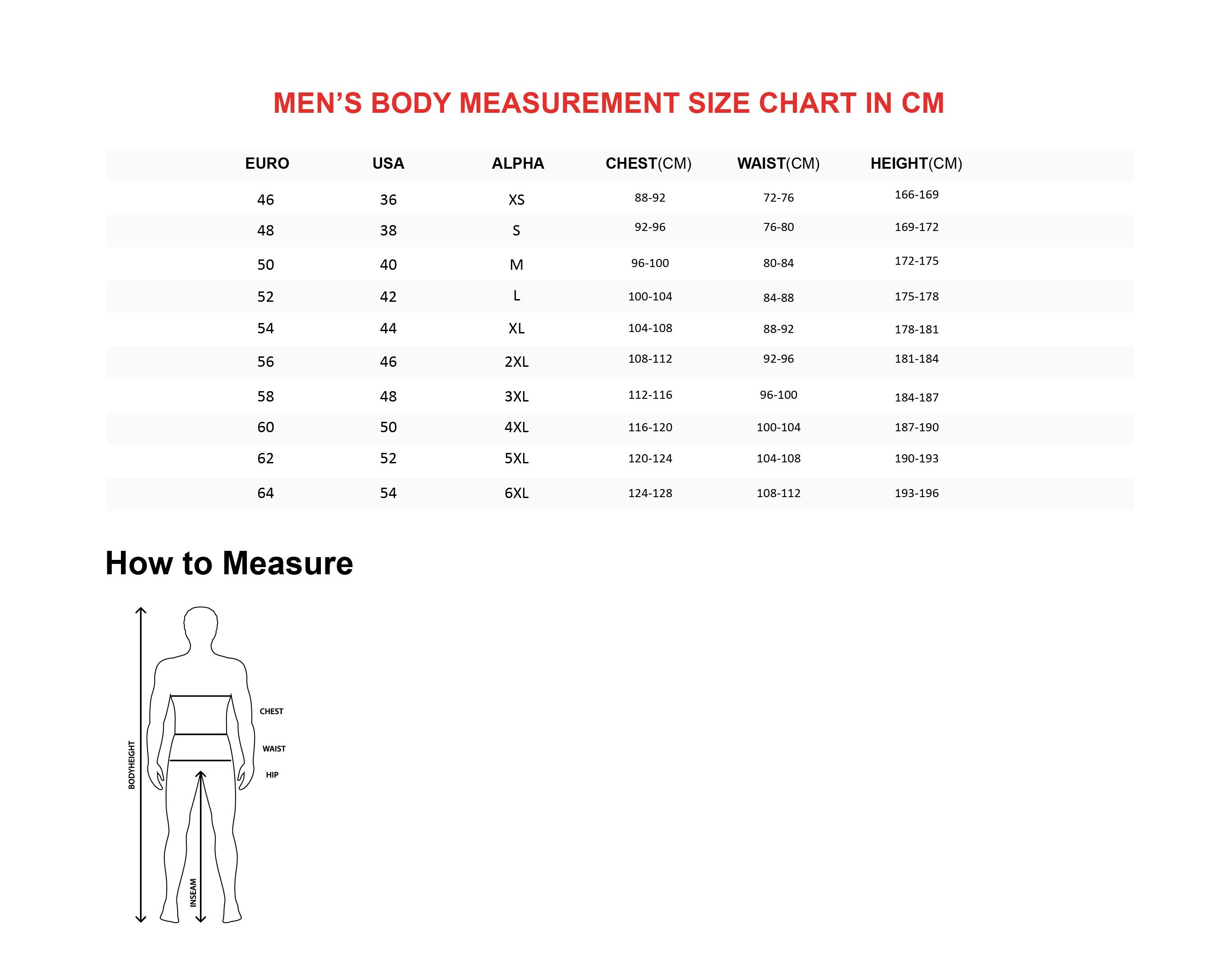 Men's Body Size Chart